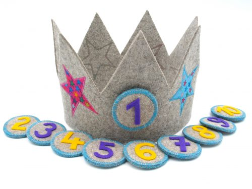 Geburtstagskrone mit Sternchen in grau