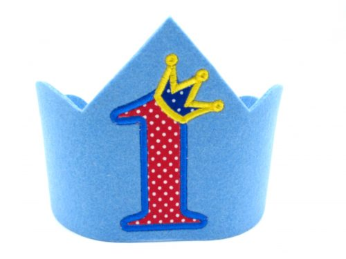 Geburtstagskrone für den 1. Geburtstag in hellblau