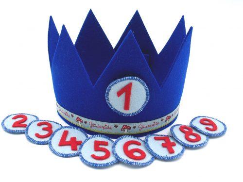 Geburtstagskrone Glückspilz in dunkelblau