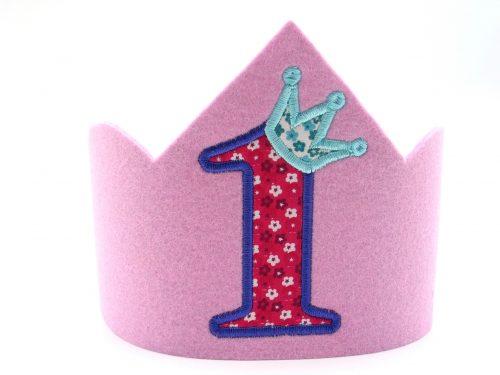 Geburtstagskrone für den 1. Geburtstag in rosa