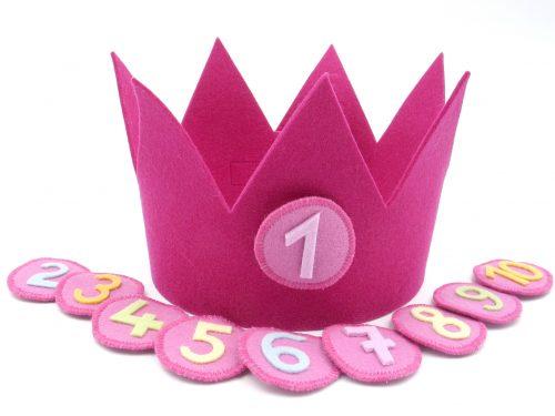 Geburtstagskrone Basic in pink