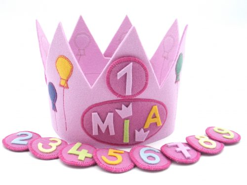 Geburtstagskrone Luftballons in rosa