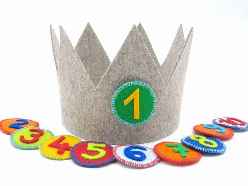 Geburtstagskrone Basic in hellgrau