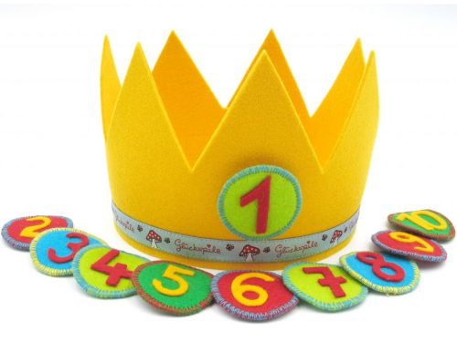 Geburtstagskrone Glückspilz in gelb