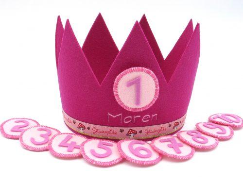 Geburtstagskrone Glückspilz in pink