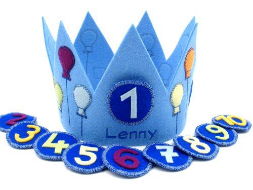 Geburtstagskrone mit Luftballons in hellblau